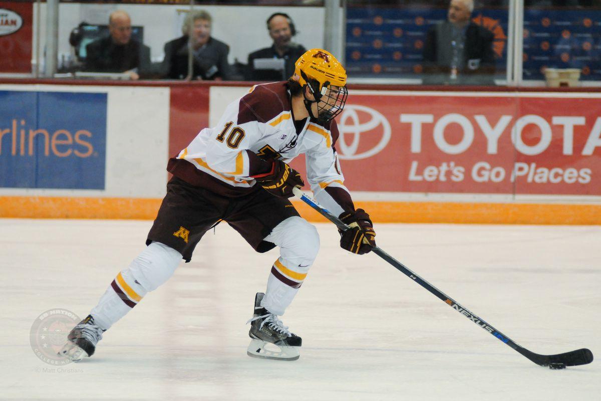Brent Gates Jr (10) on the ice at Minnesota.