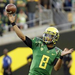 Oregon quarterback Marcus Mariota throws during the first half of their NCAA college football game in Eugene, Ore., Saturday, Sept. 1, 2012.