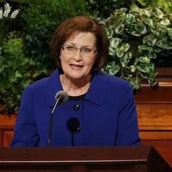 Sister Linda K. Burton, Relief Society general president of The Church of Jesus Christ of Latter-Day Saints, speaks during the General Women's Session of the 187th Annual General Conference in the Conference Center in Salt Lake City on Saturday, March 25, 2017.