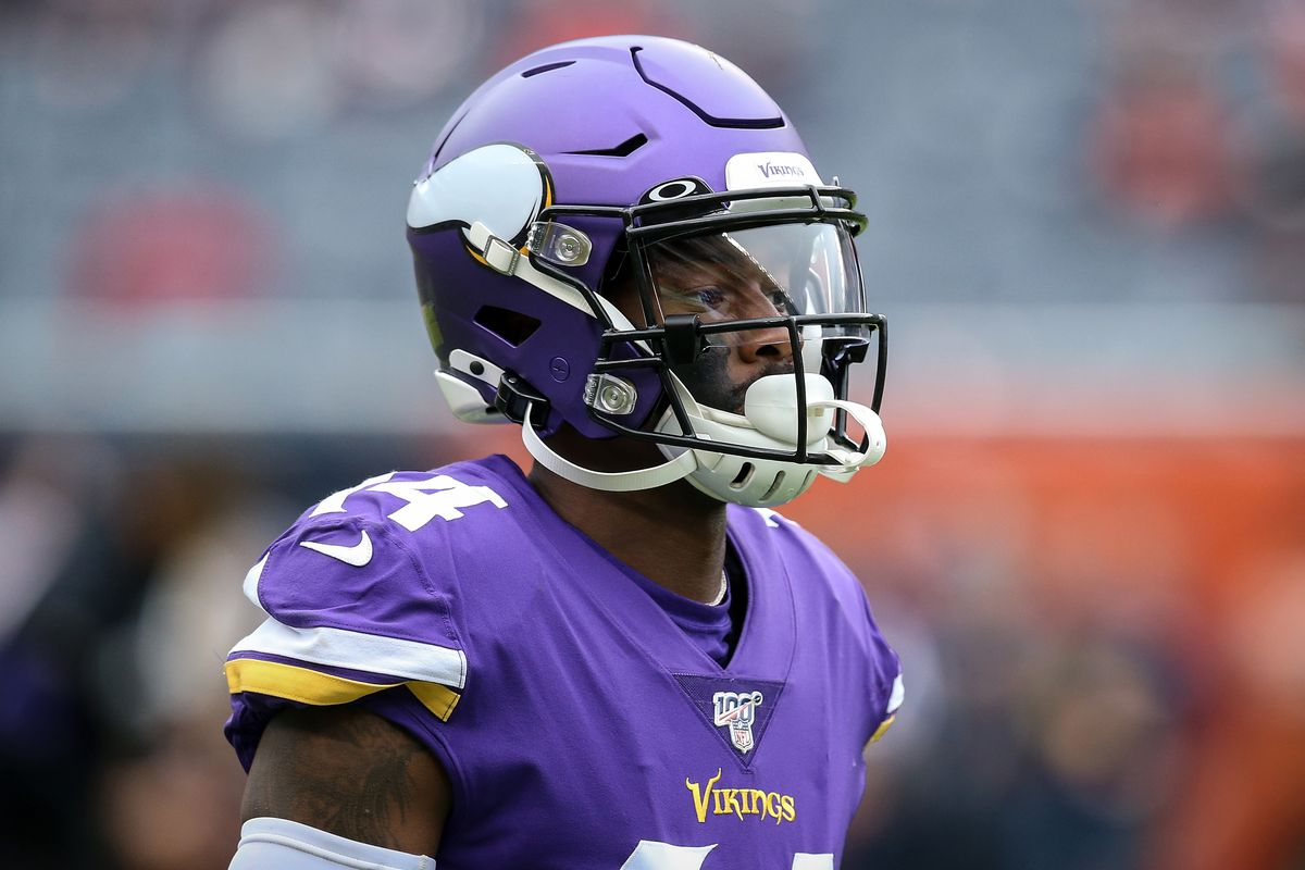 Stefon Diggs of the Minnesota Vikings looks on before the game against the Chicago Bears at Soldier Field on September 29, 2019 in Chicago, Illinois.