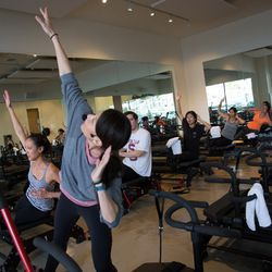 Meanwhile, Studio Metamorphosis founder led group one over in the Pilates room.