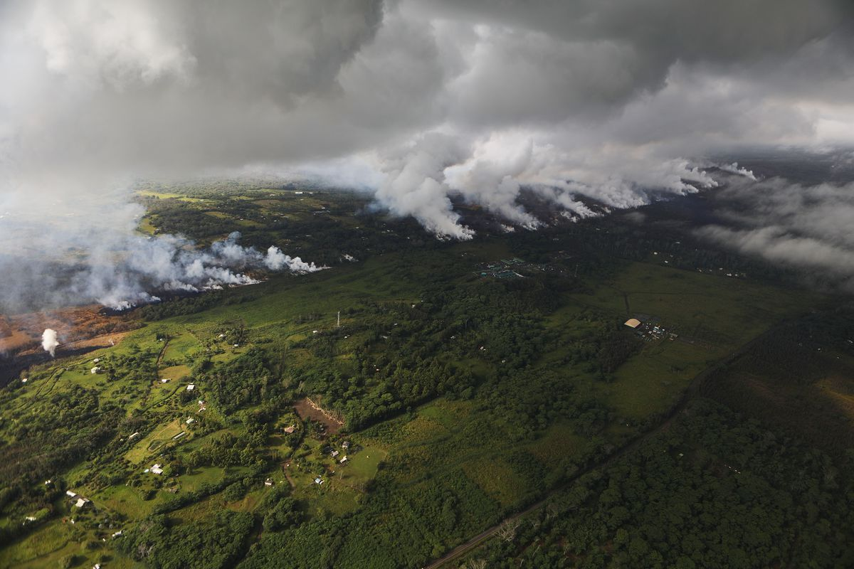 Sulfur dioxide plumes rising from a fissure created by Kilauea volcano on May 16, 2018