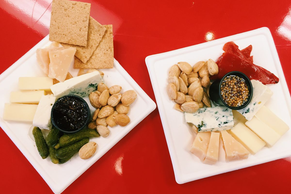 cheese, crackers, mustard, nuts, pickles