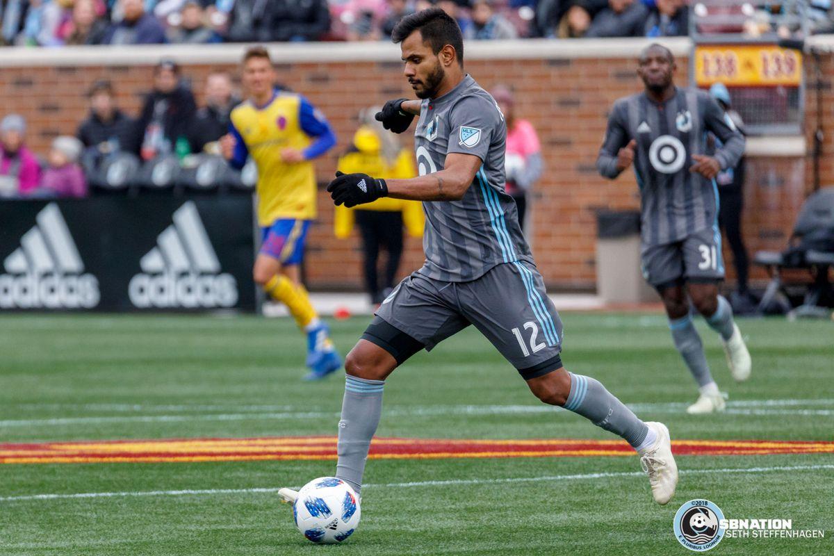 October 13, 2018 - Minneapolis, Minnesota, United States - Minnesota United midfielder Fernando Bob (12) dribbles the ball during the match against the Colorado Rapids at TCF Bank Stadium.