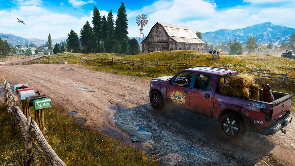 Far Cry 5 - pickup truck on unpaved road