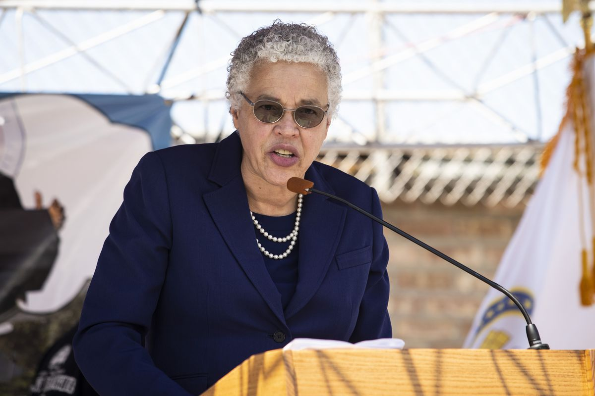 "Cook County Board President Toni Preckwinkle speaks during the ÒLet our Kids Live"" rally against gun violence at the Austin Peoples Action Center on the West Side, Friday, July 24, 2020. 