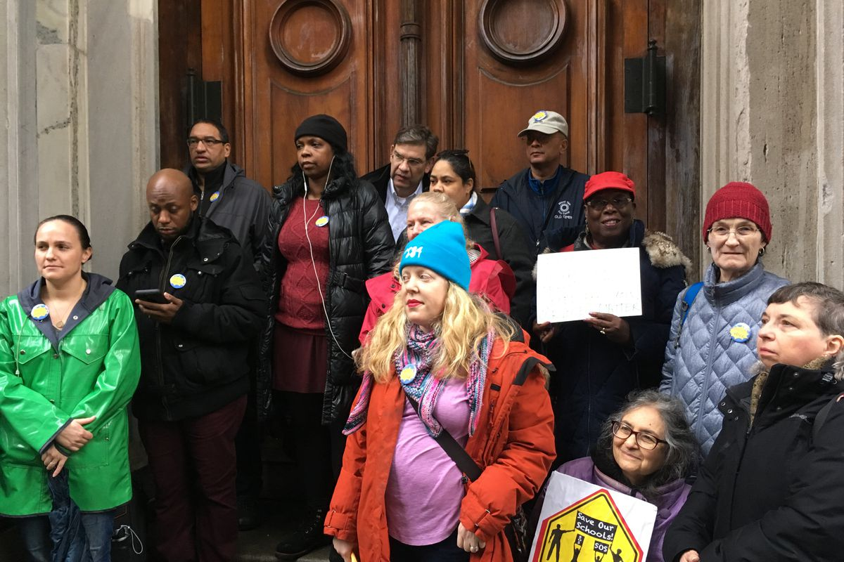 Parents and ddvocates rallied on the steps of the New York City education department headquarters to call for a say in the search for a new schools chancellor.
