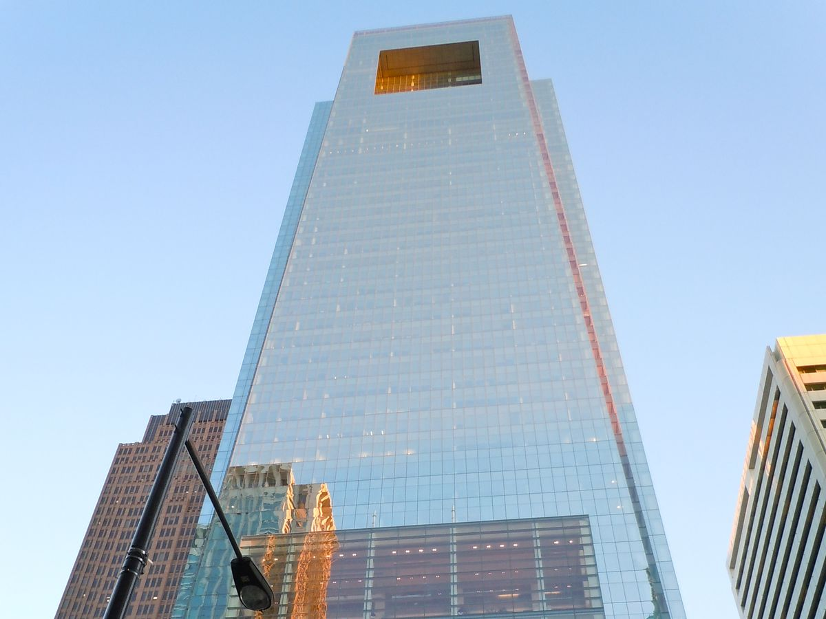The Comcast Center in Philadelphia. The facade is glass.