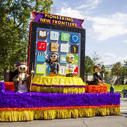 The Murray Utah Little Cottonwood Stake float is pictured during the Days of '47 Union Pacific Railroad Youth Parade held Saturday, July 18, 2015, in Salt Lake City.