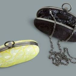 Lace miniaudieres in Sulfur Spring and black, $34.99 each