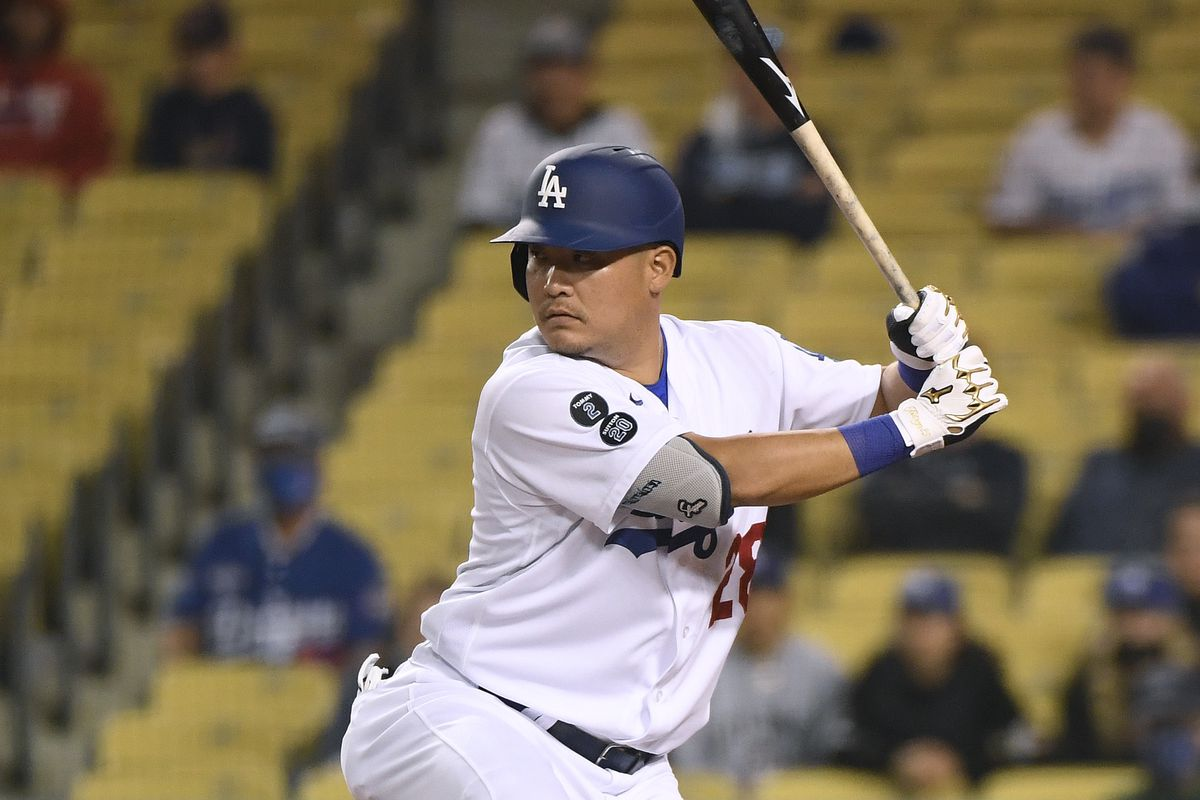 Yoshi Tsutsugo #28 of the Los Angeles Dodgers at bat during the ninth inning against the St. Louis Cardinals at Dodger Stadium on June 01, 2021 in Los Angeles, California.