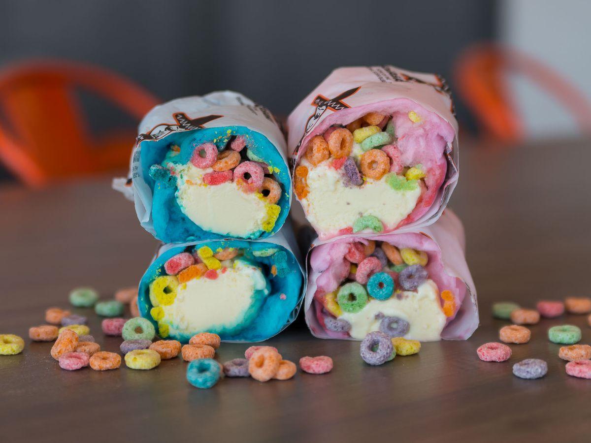 Cotton candy ice cream burrito at Jogasaki