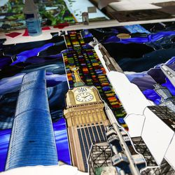 """Pieces of art glass are assembled into panels for """"The Roots of Knowledge,"""" a 200-foot-long stained glass installation for Utah Valley University, at Holdman Studios in Lehi on Friday, Nov. 4, 2016. A Guardian UK reporter called the work """"one of the most spectacular stained glass windows made in the past century."""""""