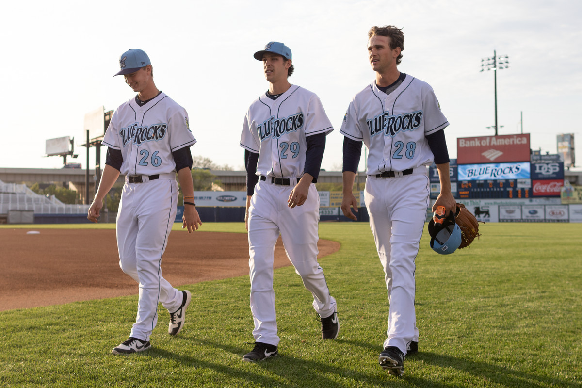 From left to right: Royals top prospects Brady Singer, Daniel Lynch, and Jackson Kowar before a Wilmington Blue Rocks game.
