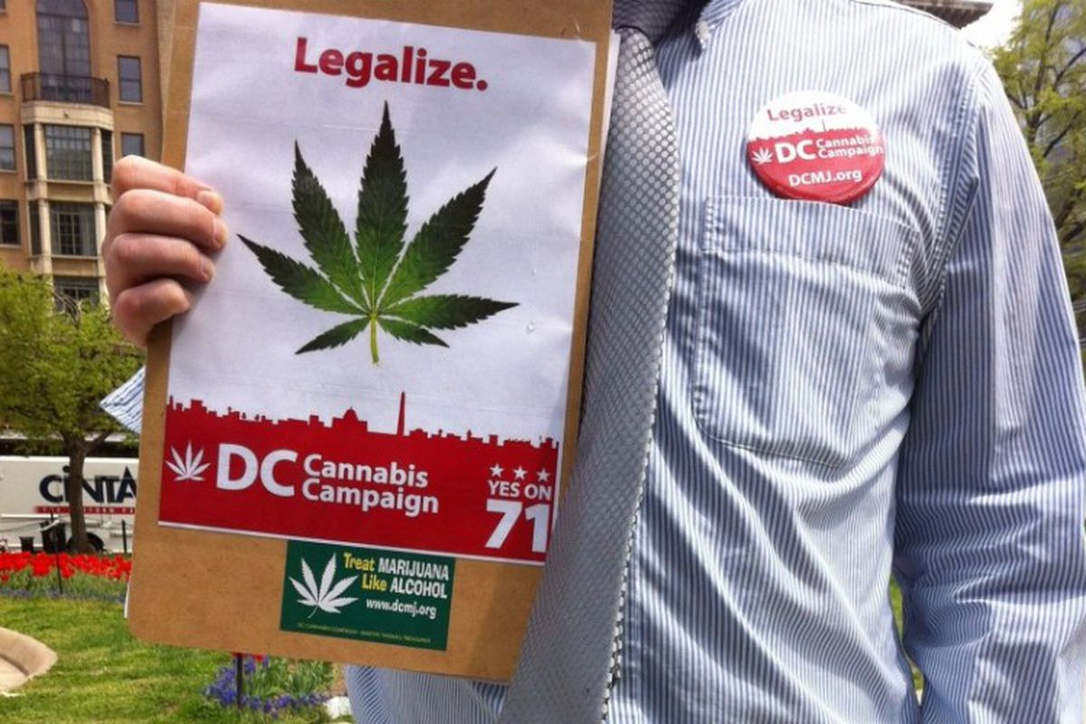A petitioner holds up forms for the marijuana legalization campaign in Washington, DC.