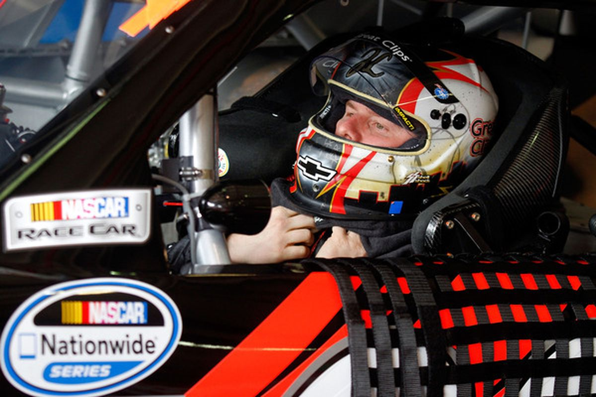 Jason Leffler gets ready to practice for the NASCAR Nationwide Series Royal Purple 300 at Auto Club Speedway.