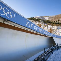 A curve on the luge and bobsled track at the Utah Olympic Park near Park City is pictured on Monday, Nov. 30, 2020.