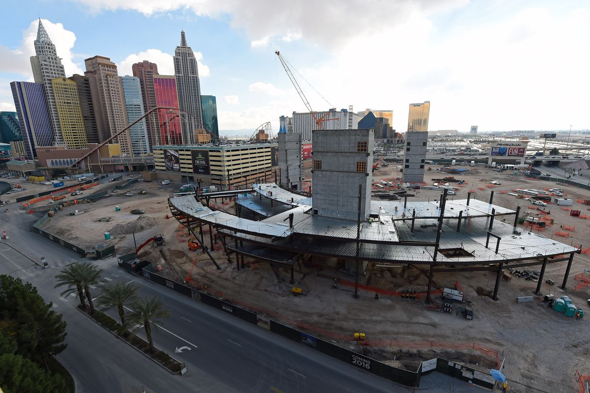 The Las Vegas Arena, under construction, might someday host an NHL or NBA team — and perhaps in-seat gambling.