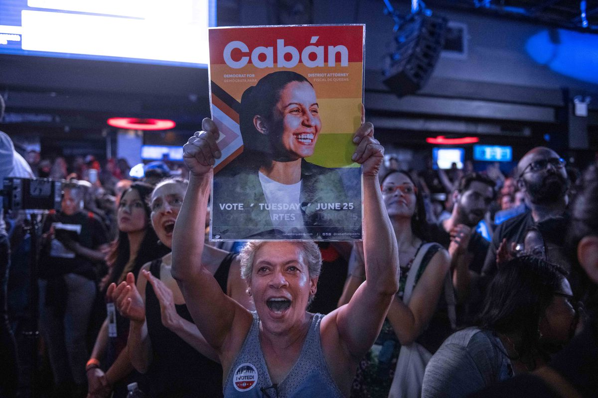 Supporters of Tiffany Cabán celebrate on election night.