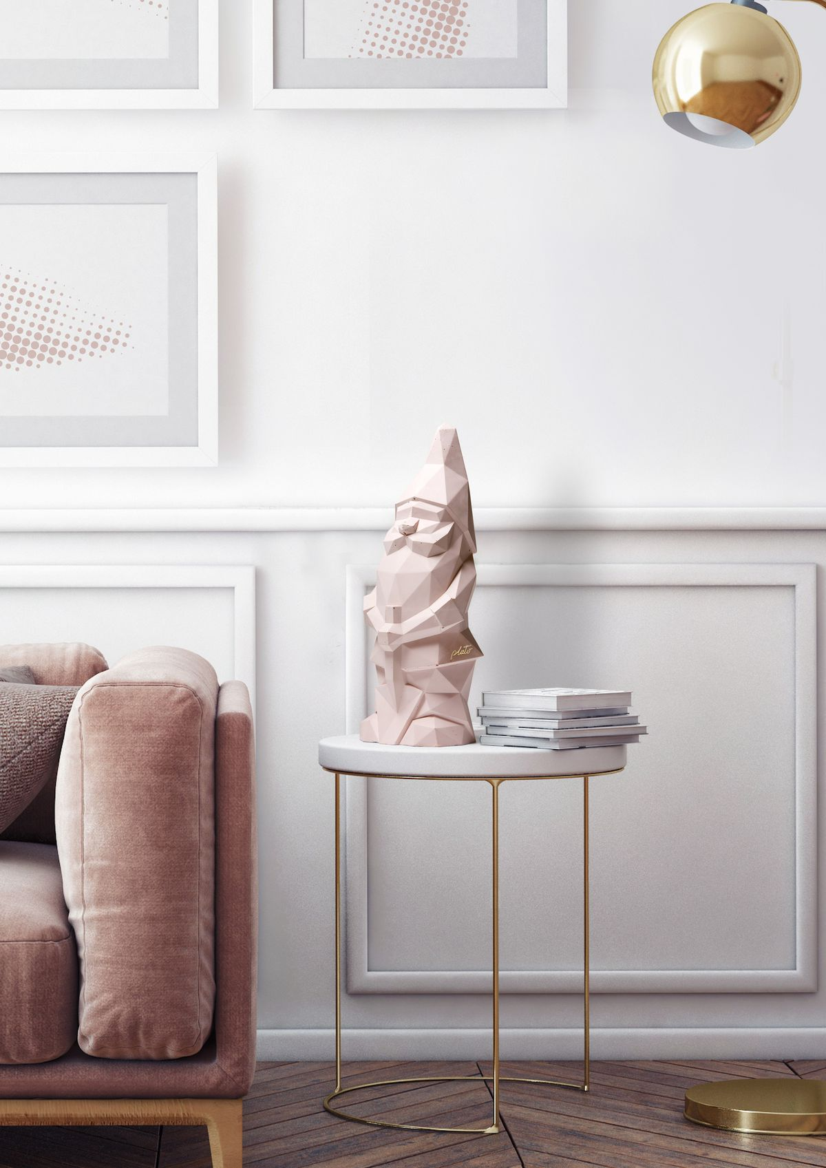 Pink garden gnome on side table