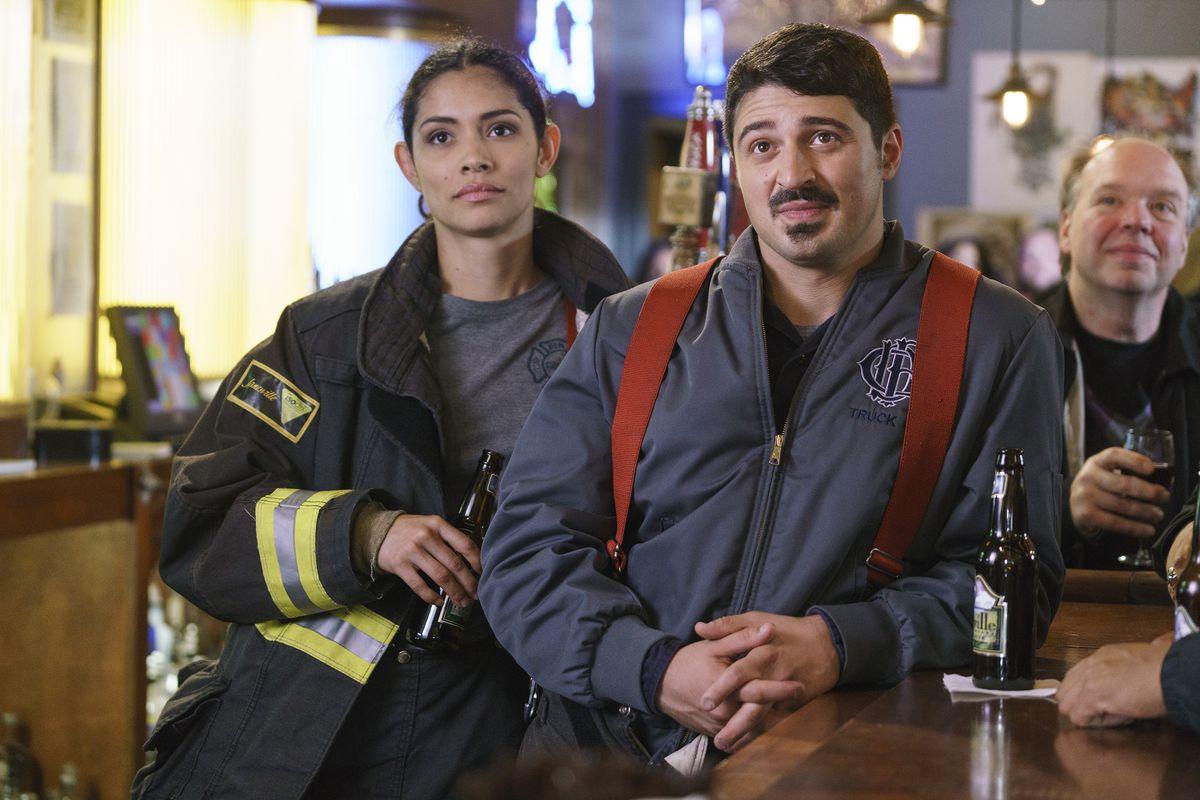 "Miranda Rae Mayo with Yuri Sardarov on ""Chicago Fire.""   NBC"