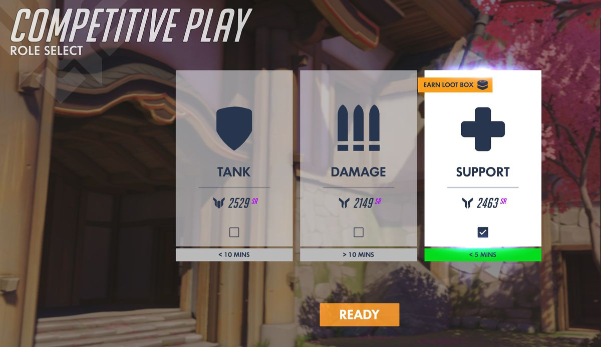 Overwatch - The new role queue select screen