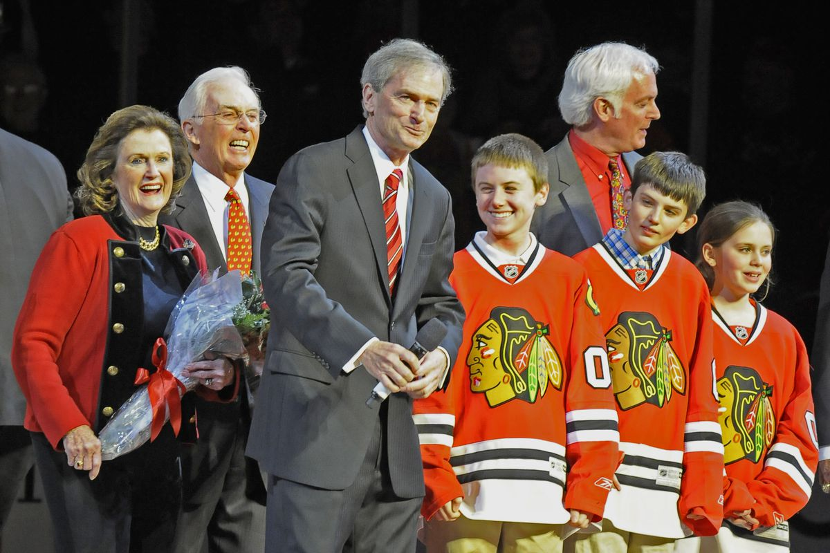 Pat Foley and his family are honored before a game April 18, 2013. The Hawks celebrated Foley's 30th season as the team's voice.