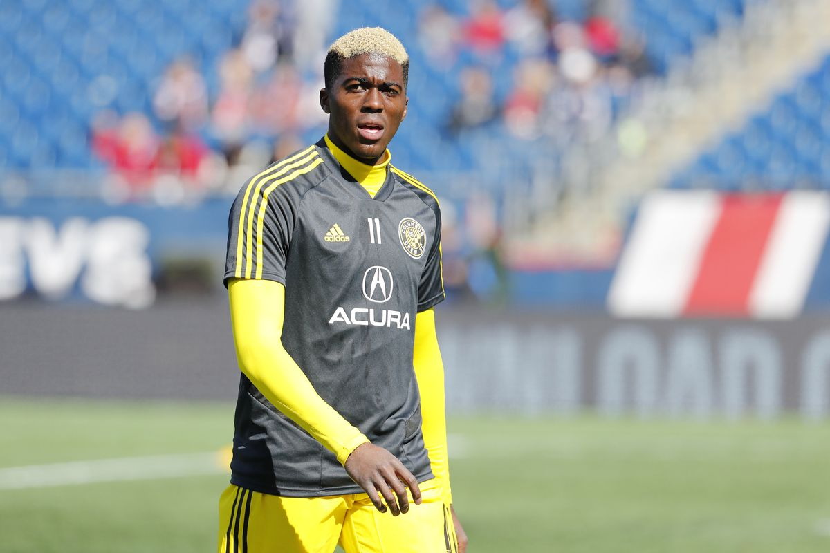Columbus Crew forward Gyasi Zardes before a match between the New England Revolution and Columbus Crew SC on March 9, 2019, at Gillette Stadium in Foxborough, Massachusetts.
