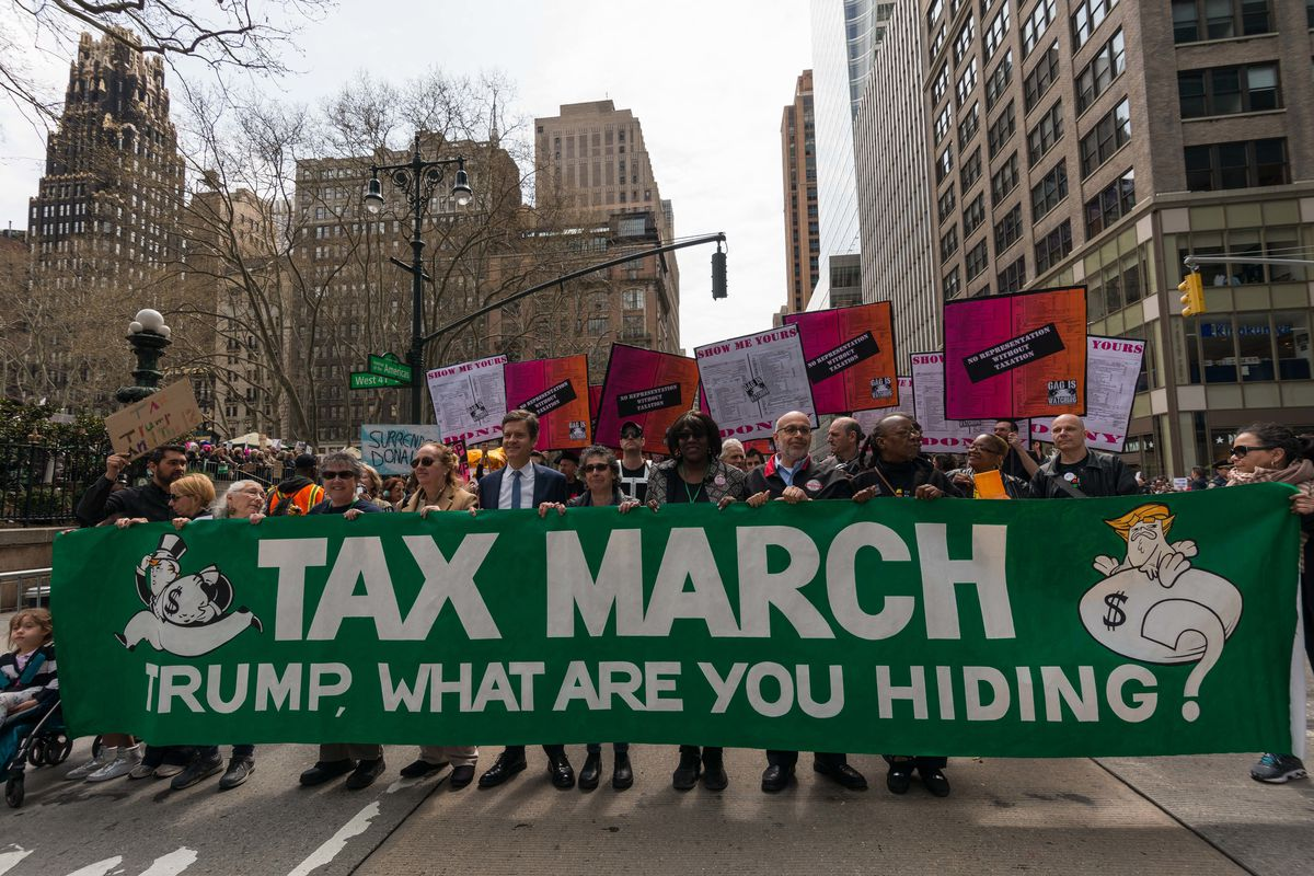 Demonstrators in New York, on April 15, demand that Donald Trump release his taxes