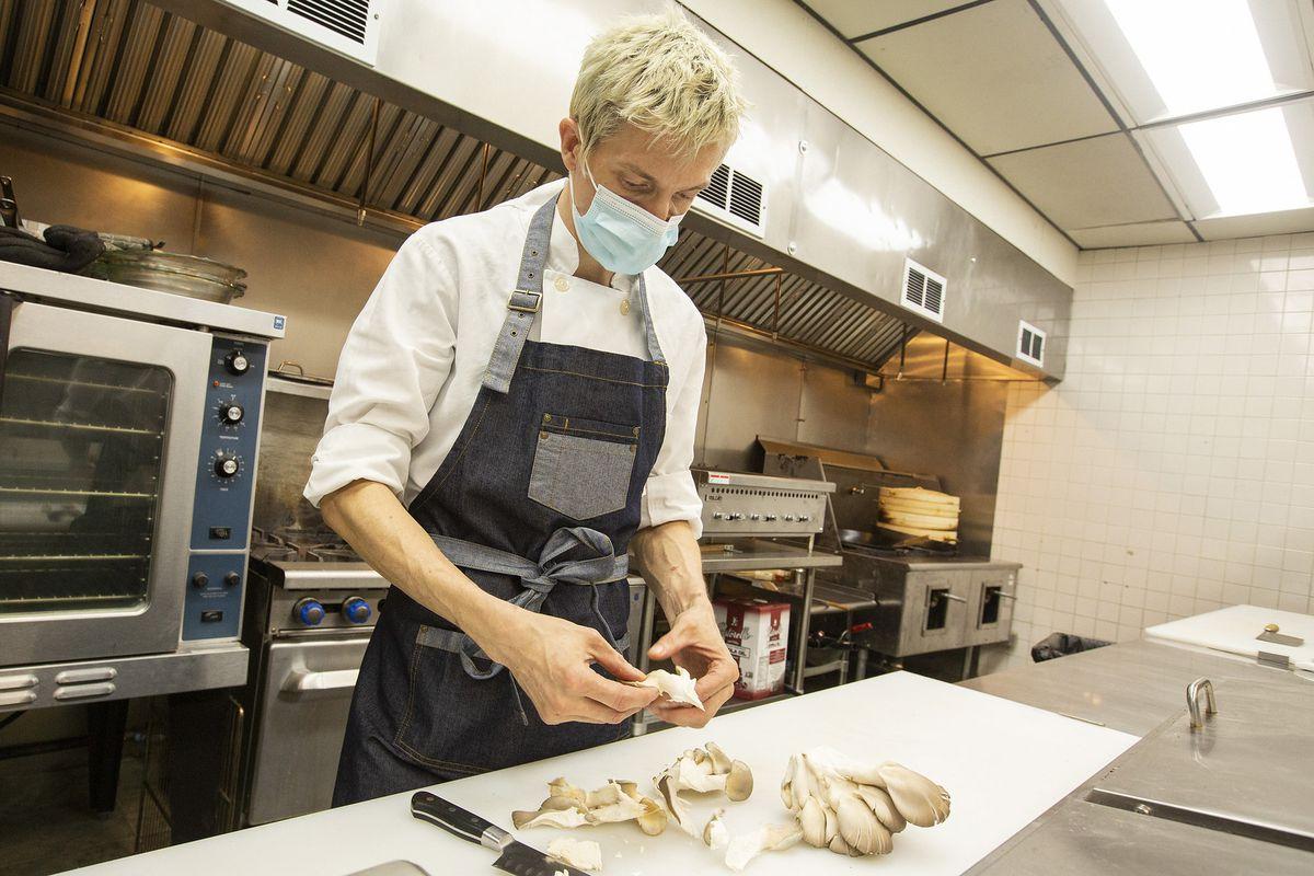Kevin Schuder preps mushrooms