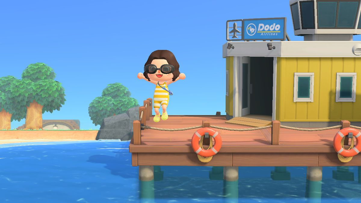 Animal Crossing avatar wearing yellow striped wetsuit jumping off airport pier