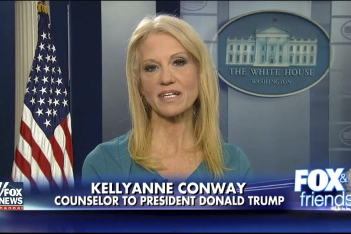 """This frame grab from video provided by Fox News shows White House adviser Kellyanne during her interview with Fox News' """"Fox and Friends"""" on Thursday, Feb. 9, 2017, in the briefing room of the White House in Washington, D.C. Conway defended Ivanka Trump's"""