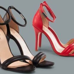 Ankle-strap black and Apple red, $39.99 each