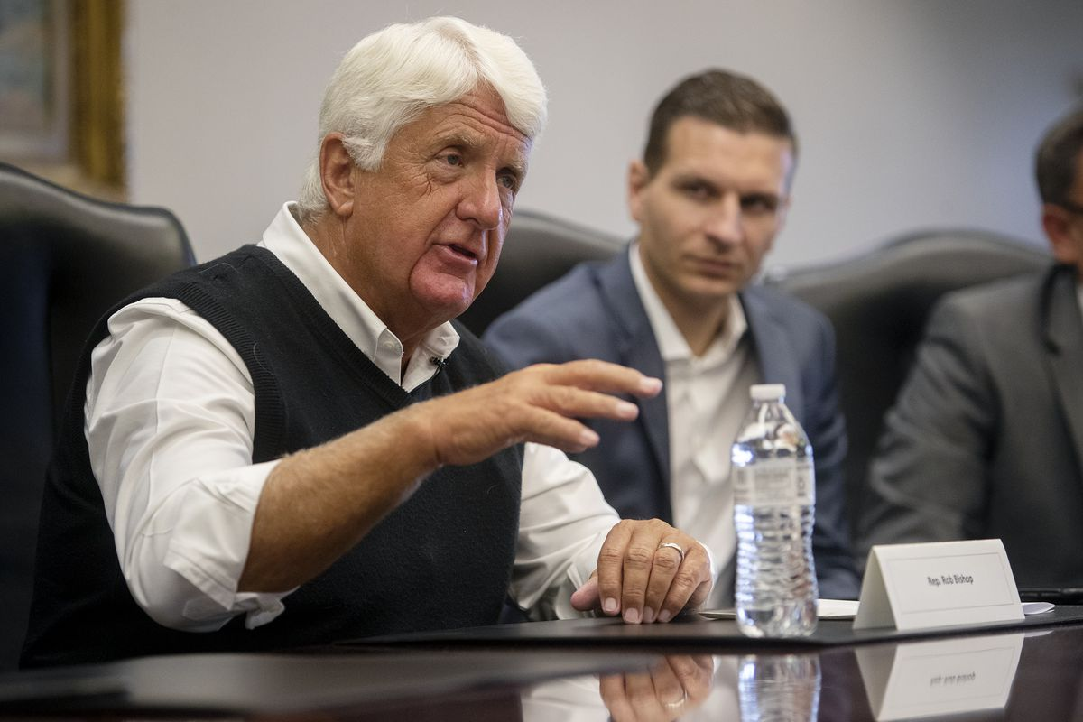 Rep. Rob Bishop, R-Utah, talks with the Deseret News and KSL editorial boards in Salt Lake City on July 29, 2019. On Tuesday Bishop praised the BLM transfer of 790 acres of public lands, known as the Ashley Springs property, to Uintah County.