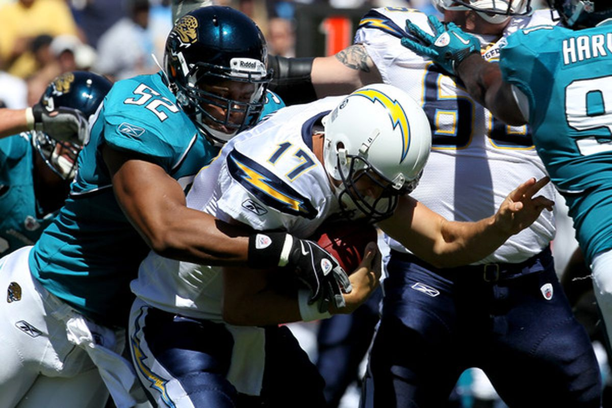 SAN DIEGO - SEPTEMBER 19:  Linebacker Daryl Smith #52 of the Jacksonville Jaguars sacks quarterback Philip Rivers #17 of the San Diego Chargers at Qualcomm Stadium on September 19 2010 in San Diego California. (Photo by Stephen Dunn/Getty Images)