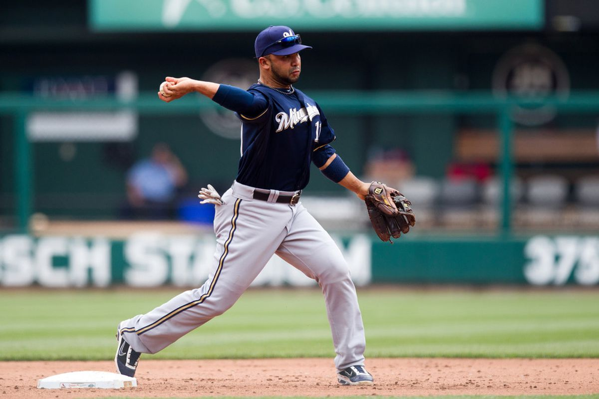 ST. LOUIS, MO - APRIL 28: Alex Gonzalez #11 of the Milwaukee Brewers throws to first base during a game against the St. Louis Cardinals at Busch Stadium on April 28, 2012 in St. Louis, Missouri. (Photo by David Welker/Getty Images)