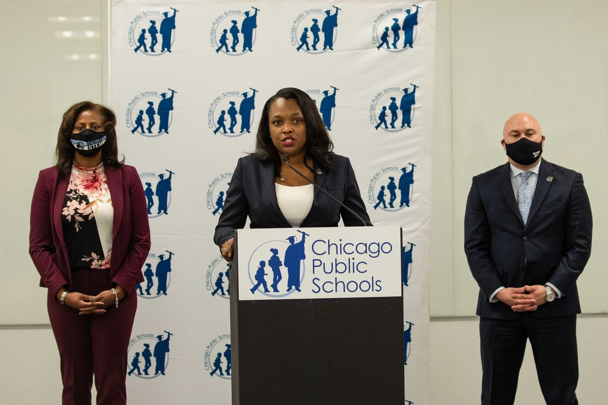 Chicago Public Schools CEO Janice Jackson speaks during a press conference at the Chicago Public Schools' headquarters in the Loop, Tuesday morning, Jan. 5, 2021. J
