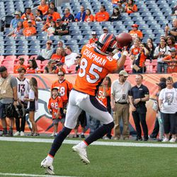 Broncos rookie WR Mark Chapman makes a nice catch in the endzone during pregame.