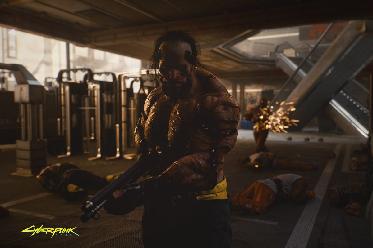 Cyberpunk 2077, E3 2019 and Gamescom - A member of the Animals faction advances on the player with a retro pump shotgun at the ready. His flesh is bound together with rivets, his grotesque musculature bursting through his skin.