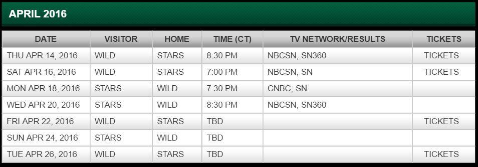 Stars Wild Playoff Schedule