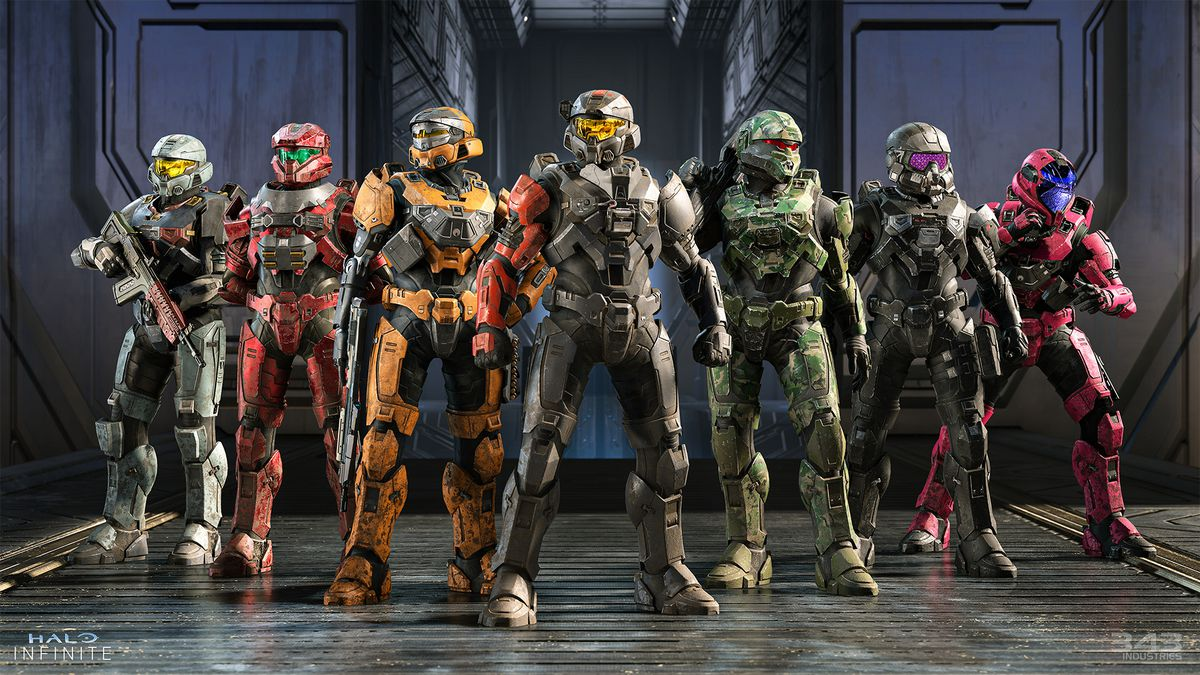 Seven armed Spartans pose for a glamour shot in Halo Infinite