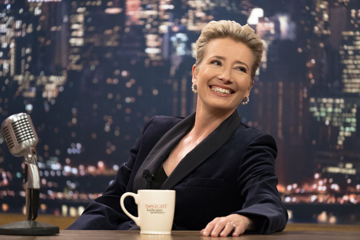 """Emma Thompson sits at her talk show desk as host Katherine Newbury in the movie """"Late Night."""""""
