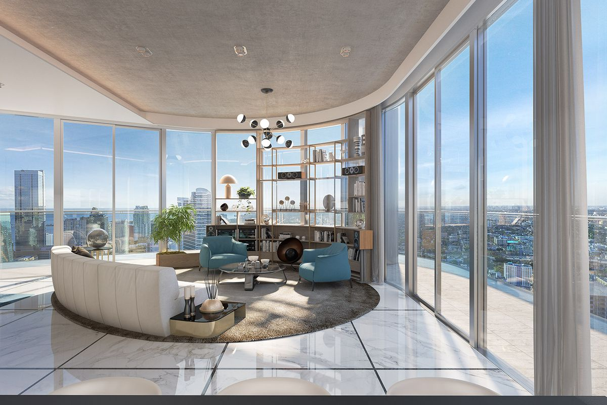 Brickell flatiron unveils renderings of penthouse for Penthouse apartment los angeles