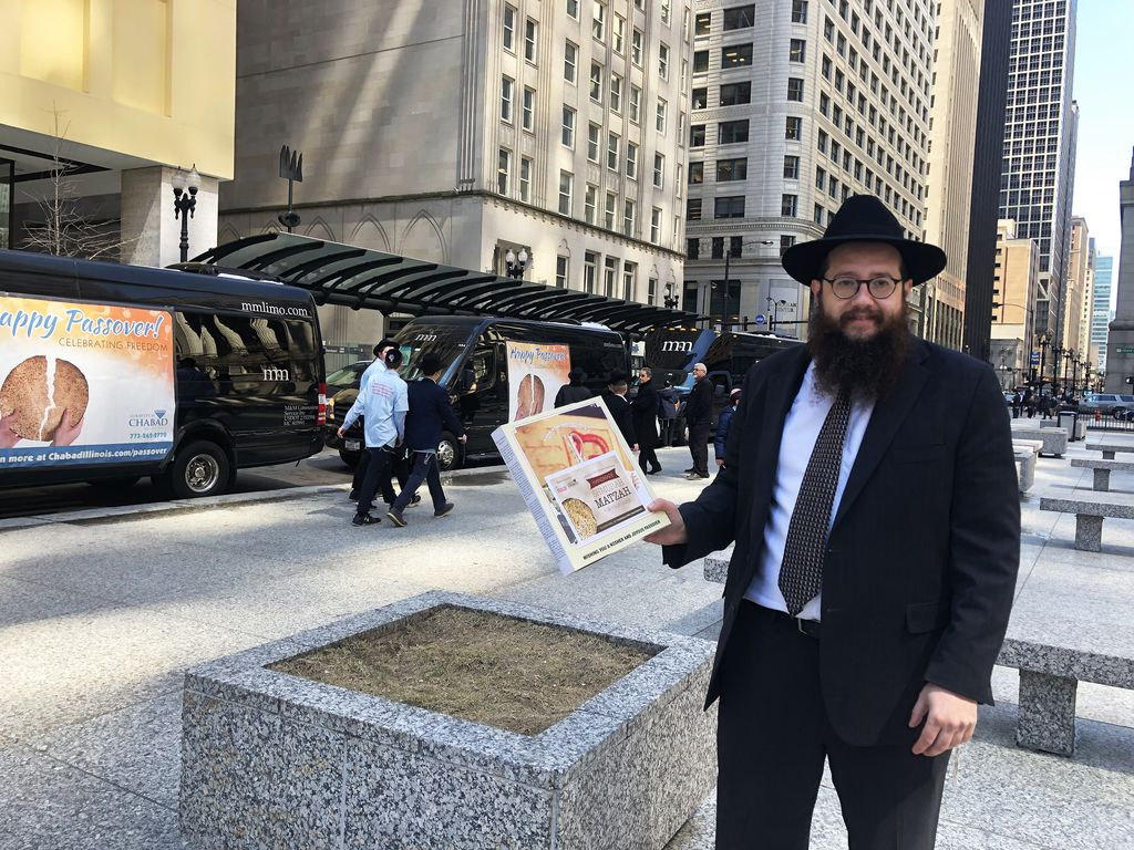 Yosef Moscowitz is a rabbi at Lubavitch Chabad of Illinois' Bucktown Temple. A group of about 60 boys from Cheder Lubavitch Hebrew Day School in Skokie sang and danced at Daley Plaza to kick off a day of bringing Matzah to venues throughout Chicago in cel