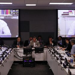 WikiLeaks founder Julian Assange addresses a meeting via videolink from Ecuador's London embassy during the United Nations General Assembly at U.N. headquarters, Wednesday, Sept. 26, 2012.