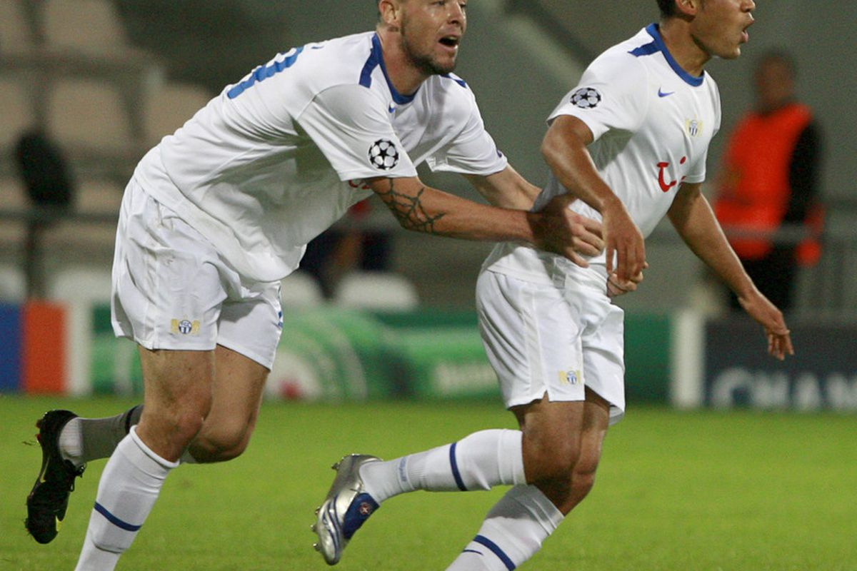 Eric Hassli, then of FC Zürich, celebrates a goal in 2009-10 qualifying for the UEFA Champions League. (Dmitry Korotayev/Getty Images)
