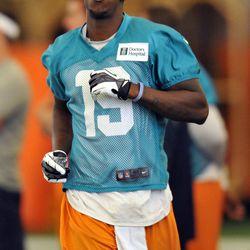 Jun 11, 2013; Davie, FL, USA; Miami Dolphins wide receiver Armon Binns (19) runs during practice drills at the Doctors Hospital Training Facility at Nova Southeastern University.