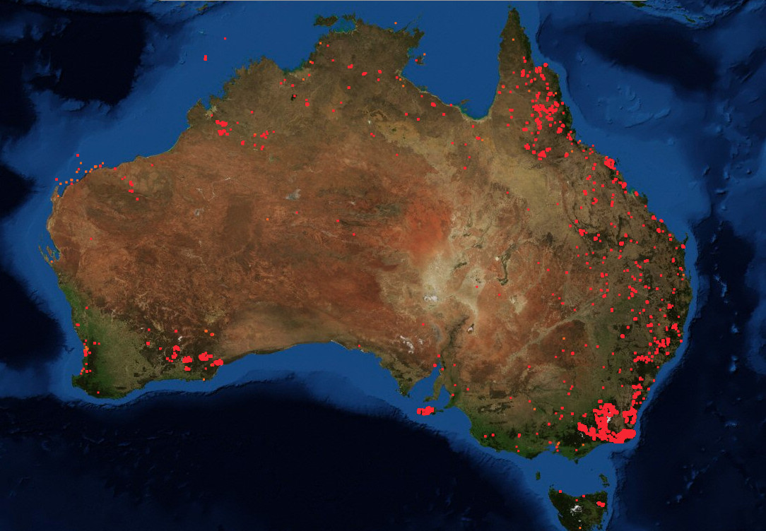A 7-day map of fires burning in Australia on January 14, 2019.