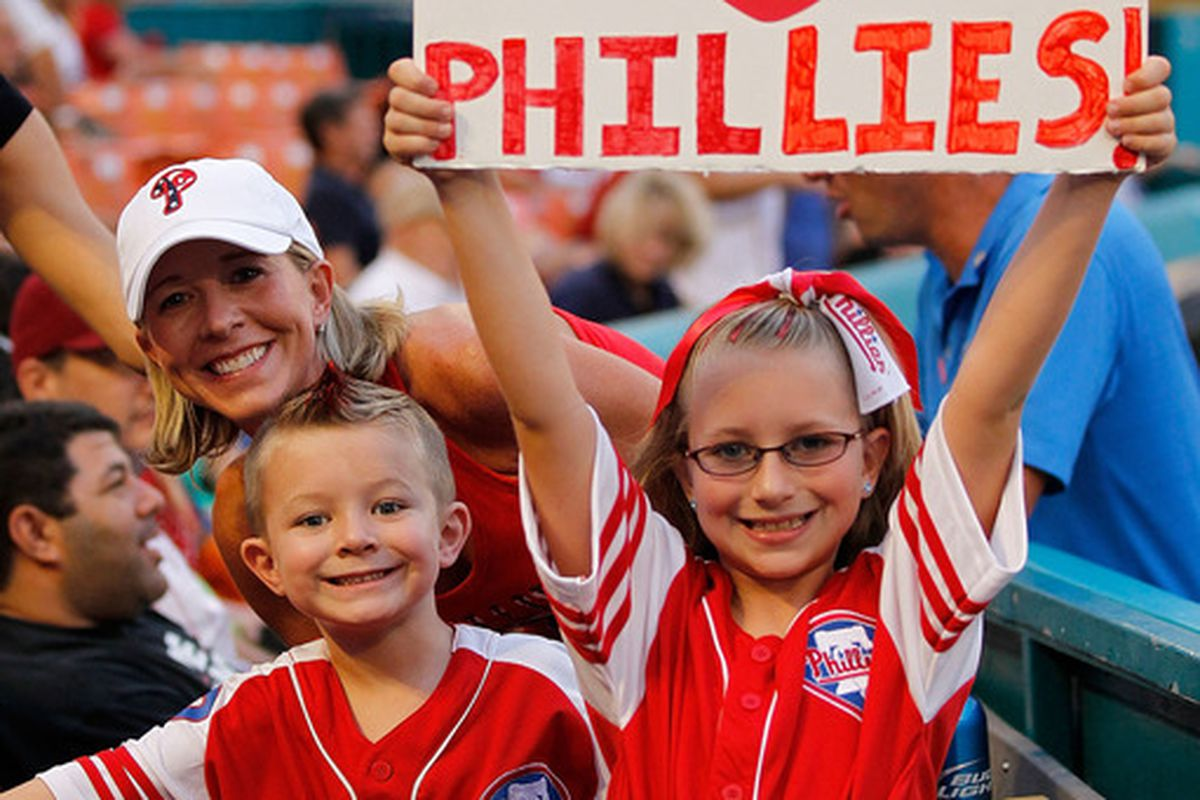MIAMI GARDENS, FL - SEPTEMBER 02:  Philadelphia Phillies fans cheer during a game against the Florida Marlins at Sun Life Stadium on September 2, 2011 in Miami Gardens, Florida.  (Photo by Mike Ehrmann/Getty Images)