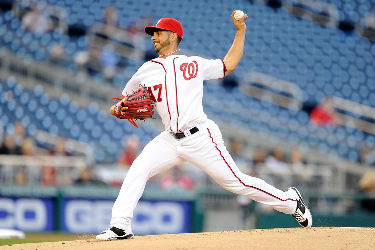 WASHINGTON, DC - APRIL 17:  Gio Gonzalez #47 of the Washington Nationals pitches against the Houston Astros at Nationals Park on April 17, 2012 in Washington, DC.  (Photo by Greg Fiume/Getty Images)